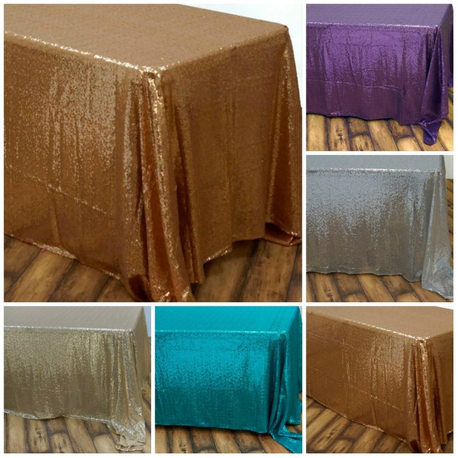 Mariage - Gold sequin tablecloth table overlay wedding sequin tablecloth table topper table linens bridal shower party table decor