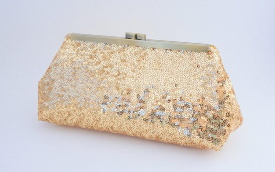 Mariage - Gorgeous Gold Sequin Clutch Purse - Evening/Wedding/Formal/Prom Handbag- Includes Shoulder Chain - Ready to Ship
