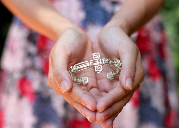 Wedding - Salvador Dali Tree in Cross Surrealism Bracelet, Dali cross, sterling silver cross bracelet, 3D printed in sterling silver, free shipping