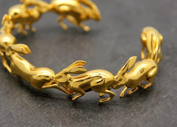 Wedding - Running Rabbit Bracelet, Cuff Bracelet, inspired by Italian Futurist, 3D printed jewelry in golden brass, free shipping