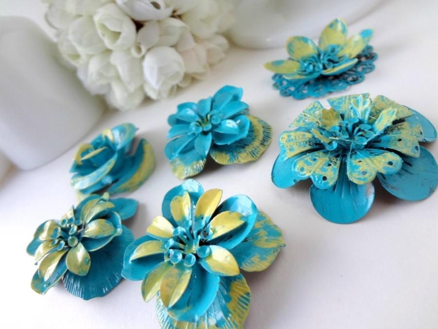 Dimensional Yellow And Teal Blue Green Metal Flowers / Vintage Style ...