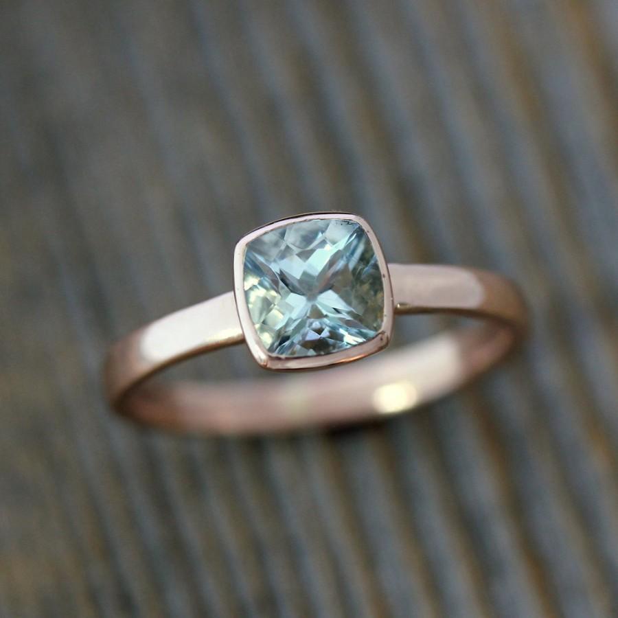 Свадьба - Aquamarine and Rose Gold Ring, Aquamarine Cushion Cut Solitaire, Diamond Alternative Engagement, Blue Gemstone, March Birthstone Jewelry
