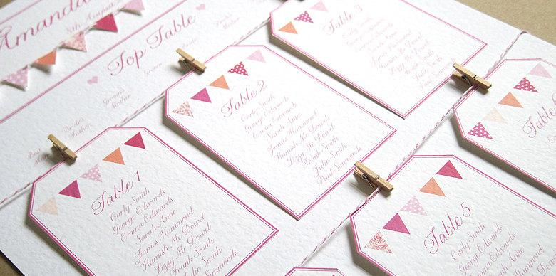 Mariage - Bunting Wedding Table Plan Seating Plan A2