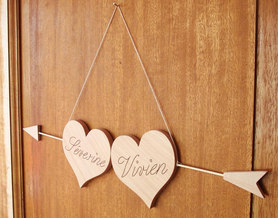 Mariage - Hearts wooden with arrow, full custom ideal wedding gift, direction marriage Panel, decoration, sign