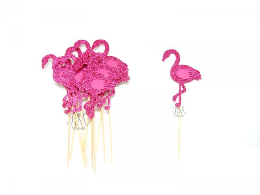 Mariage - 12 Fuchsia Glitter Flamingo Cupcake Toppers - Summer Cupcake Toppers, Summer Birthday, Tropical Party, Flamingo Party Decor