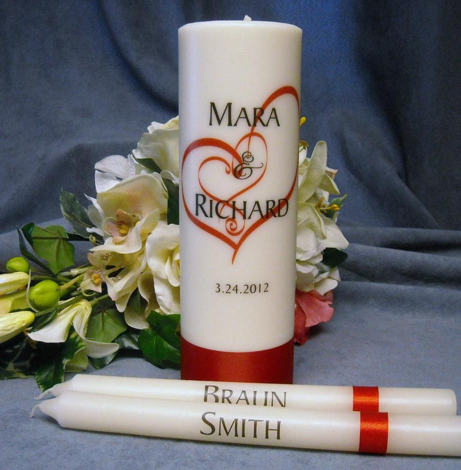 Mariage - Unity Candle With Tapers Heart Design Personalized - Your choice of color