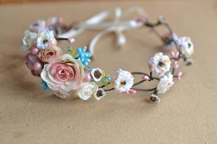 Mariage - Rustic head wreath Gentle pink Flower crown  Ivory flower crown Bridal headpiece Wedding headband Pastel wedding floral hair accessories