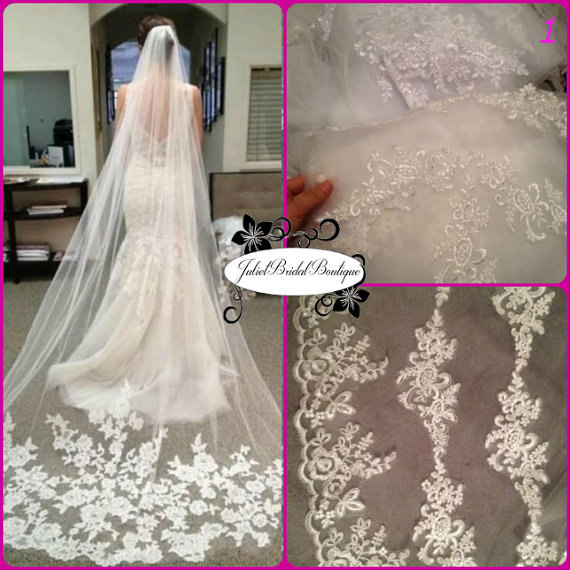 Wedding - 3M Ivory Cathedral Veil,Cathedral Wedding Veil,Cathedral Lace Veil,Cathedral Length Veil, Alencon Lace Wedding Veil, Bridal Veil Chapel Veil