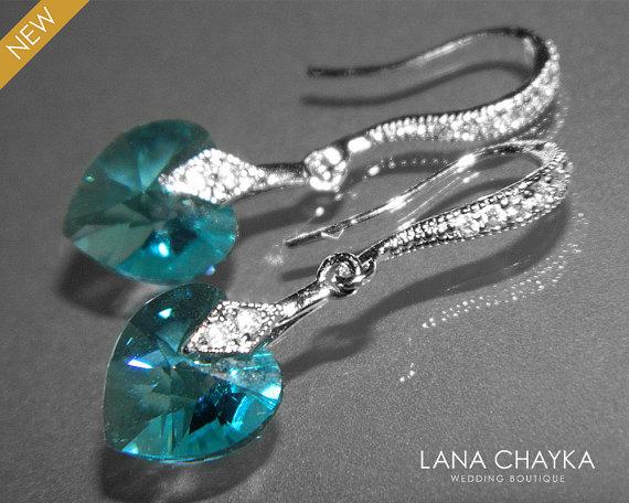 Свадьба - Light Turquoise Heart Crystal Earrings Swarovski Heart Crystal Silver CZ Small Earrings Wedding Heart Earring Light Teal Earrings Bridesmaid