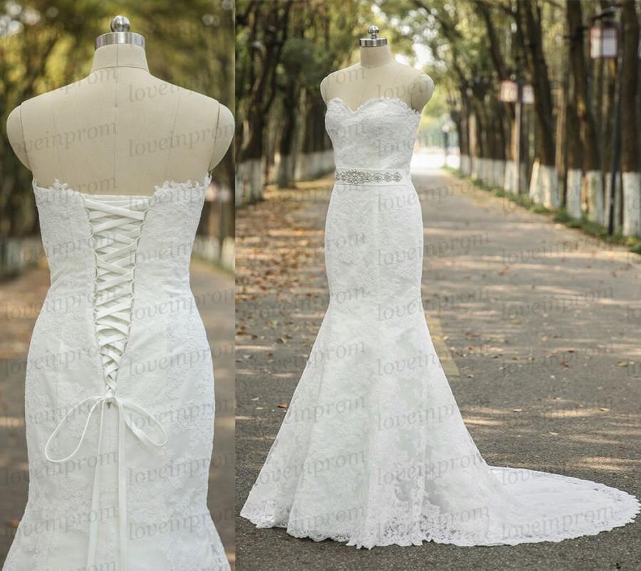Elegant Lace Wedding Dress,vintage Sweetheart Bridal Gowns ,handmade ...