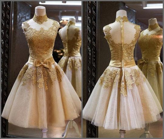 Свадьба - Golden prom dress , golden eveninbg dress , prom dress short , evening dress short , party dress