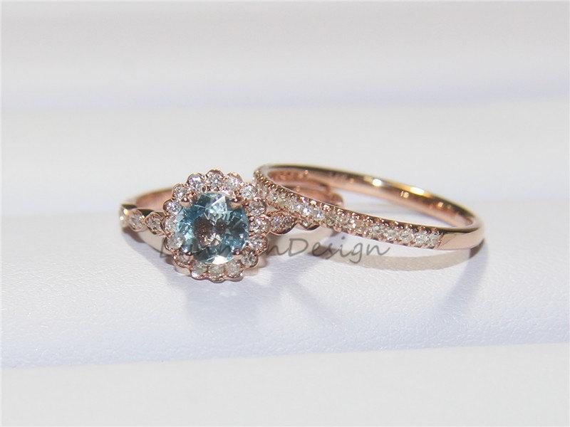 Mariage - Floral Engagement Ring Set 6MM Aquamarine Rose Gold Ring Aquamarine Engagement Ring Halo Diamond Ring Thin Diamond Band Gold Eternity Ring