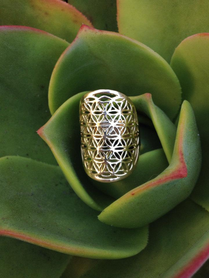 Mariage - Flower of Life Galactivated Ring •  Sacred Geometry  Ring • Ancient Patterns of Life