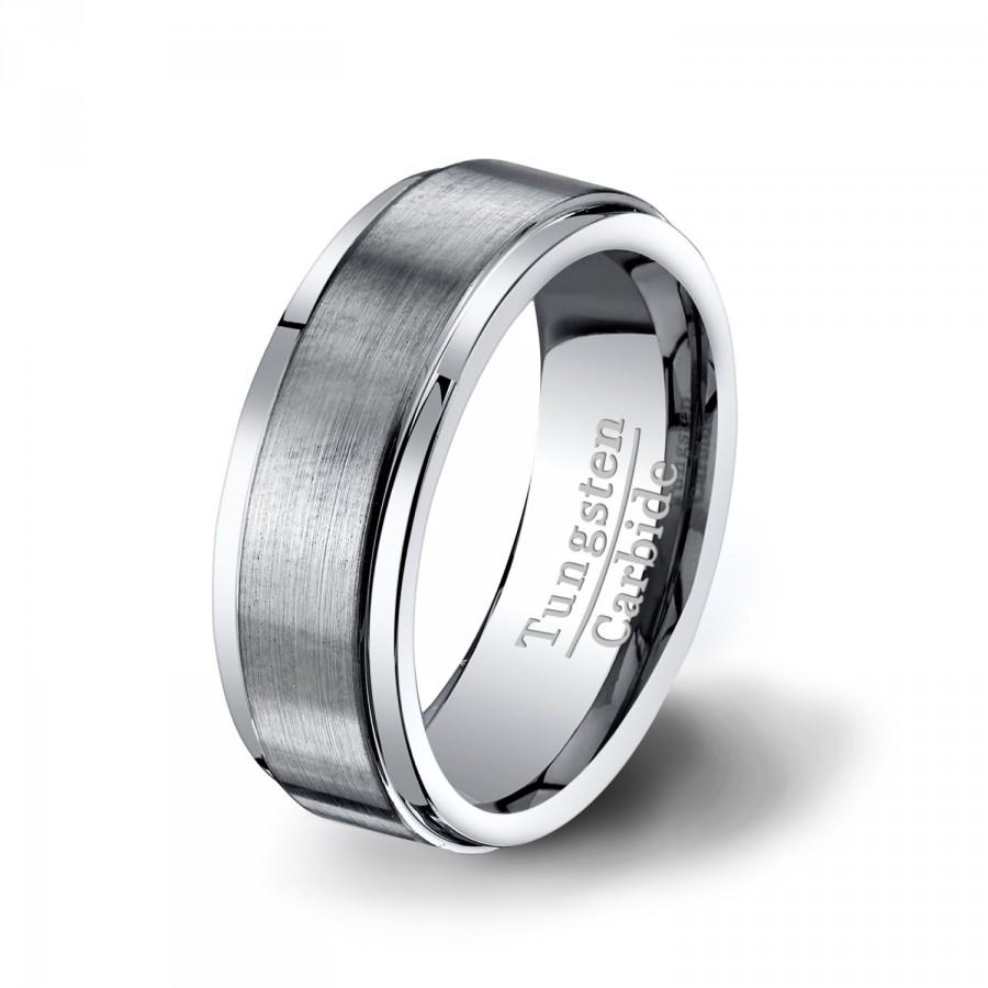 Свадьба - Mens Wedding Band 8mm Classic Brushed Matte Surface Tungsten RingTungsten Carbide Comfort Fit