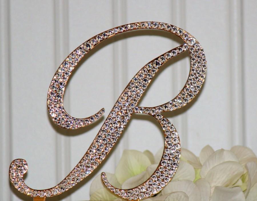 Gold H Wedding Cake Topper