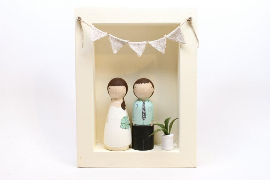 Mariage - The Original Cake Toppers AND FRAME - Custom Wedding Cake Personalized Little Wooden People Wedding Gift // Goose Grease // wooden dolls