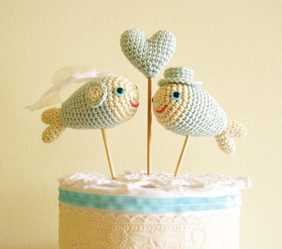 Mariage - Fish Cake Topper, Mint Blue Wedding Cake Decoration