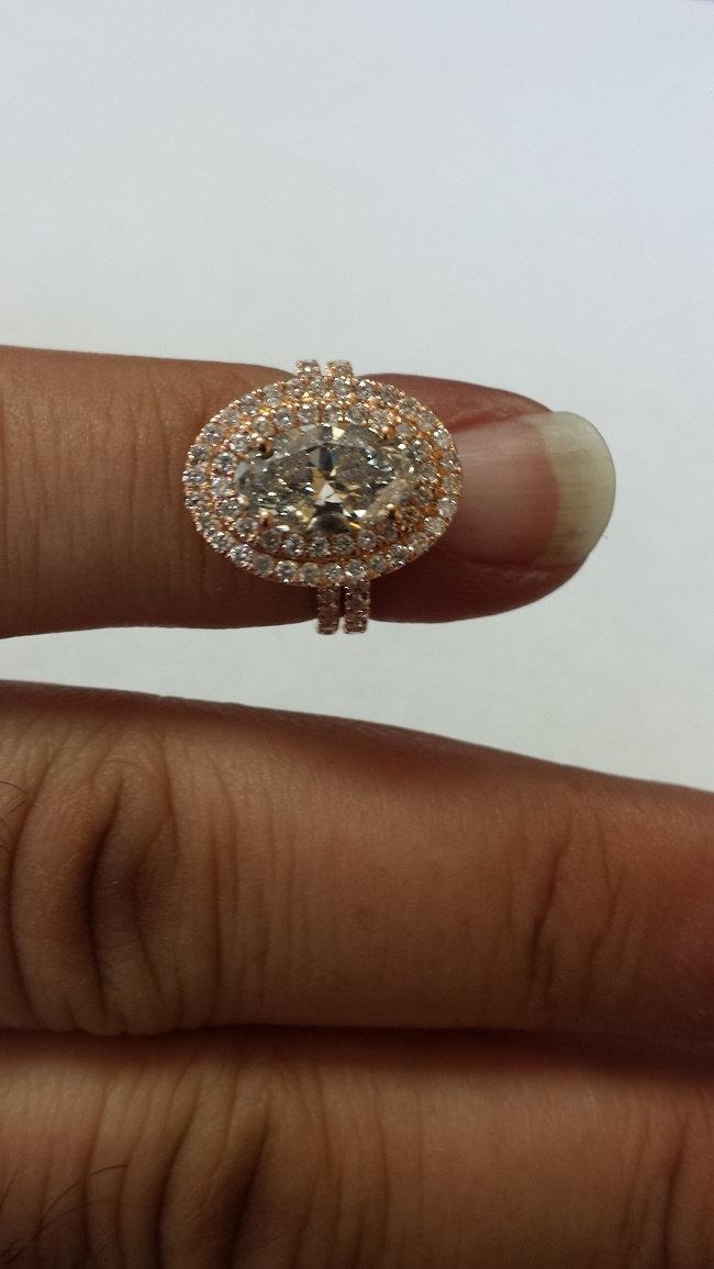 White Sapphire Engagement Ring 14k Solid Rose Gold