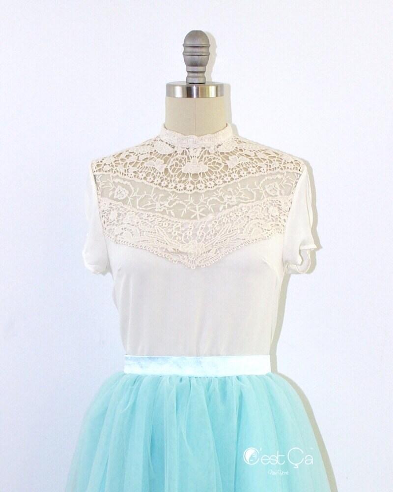 Wedding - Kayla Ivory Mock Neck Lace Top - C'est Ça New York