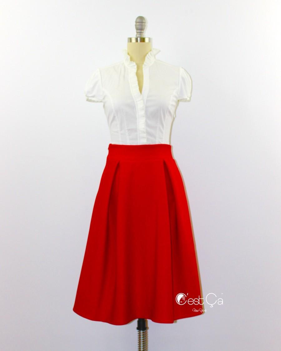 Boda - Amelie Red Pleated Skirt - C'est Ça New York
