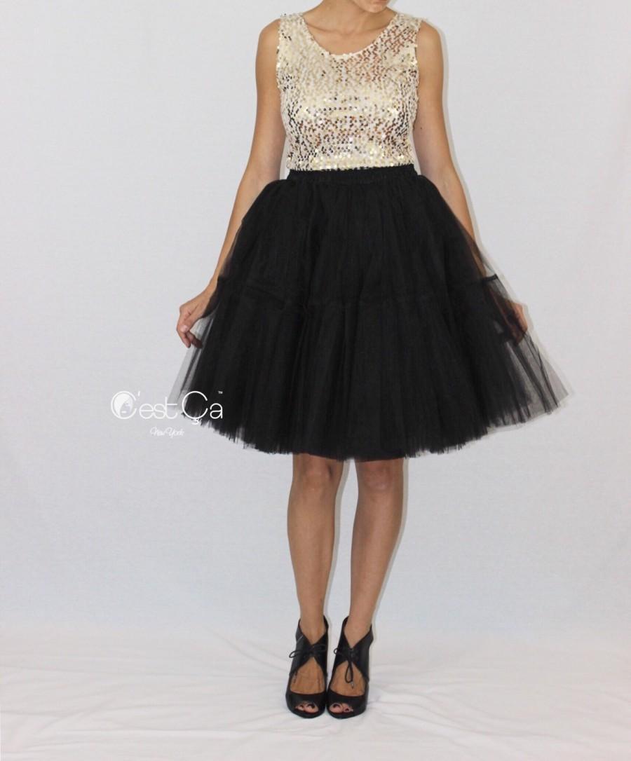 Свадьба - Beatrice Black Tulle Skirt - Midi - C'est Ça New York
