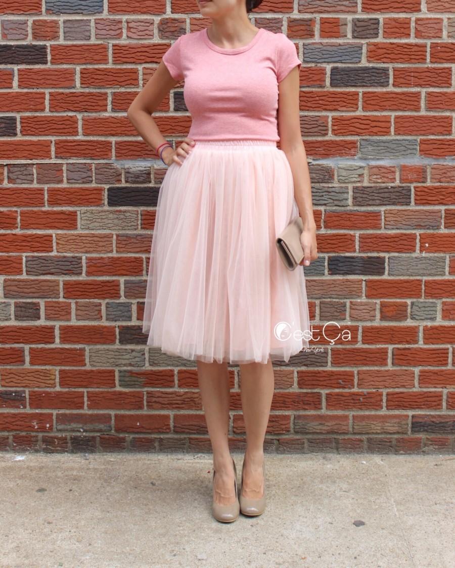 Свадьба - Claire Metallic Blush Pink Tulle Skirt - C'est Ça New York