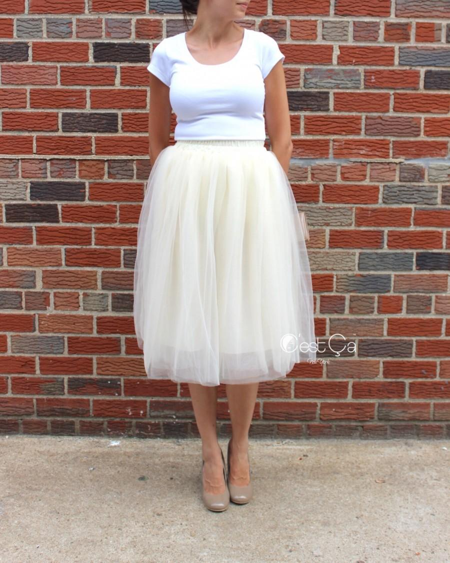 Wedding - Claire Soft Champagne Tulle Skirt - Length 26""