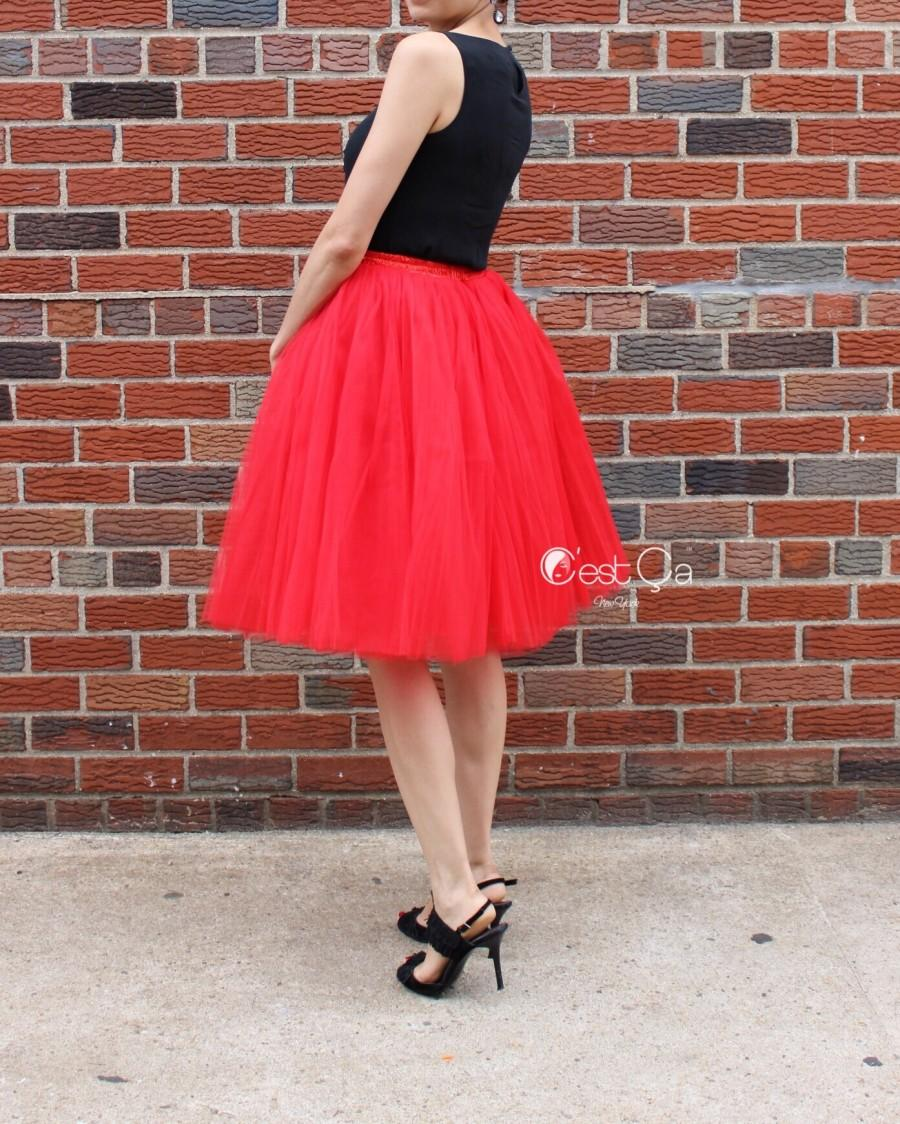 ba10cbe3e7 Clarisa Red Tulle Skirt - Regular Midi #2504217 - Weddbook