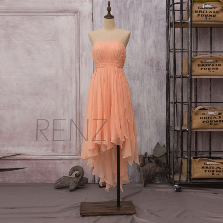 زفاف - 2016 Peach Chiffon Bridesmaid dress, Strapless Party dress, Formal dress, High-Low dress, Elegant Dress, Evening Dress tea length (F090)