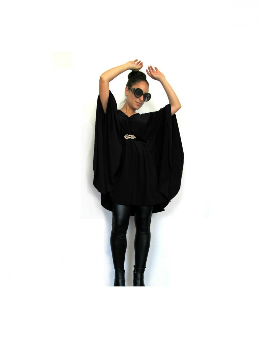 زفاف - Black 'Jackie O' Tunic Top- Long sleeve women blouse, Long Maternity blouse, Plus size shirt