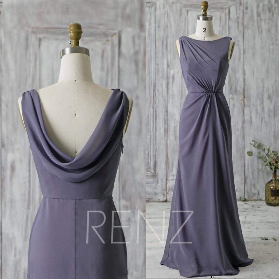 2016 Steel Blue Bridesmaid Dress Long High Neck Illusion Wedding Dress Drap