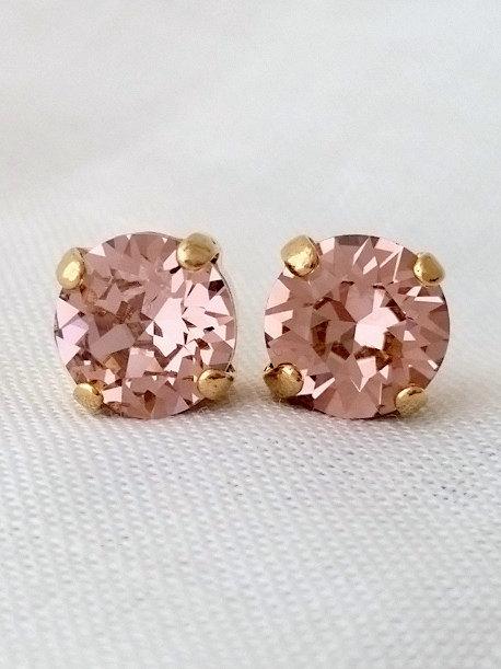 Blush Earrings Rose Gold Stud Pink Bridesmaid Gift Swarovski Crystal