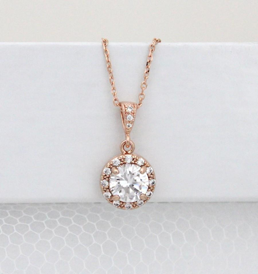 Crystal Wedding Necklace Rose Gold Bridal Necklace Rose Gold