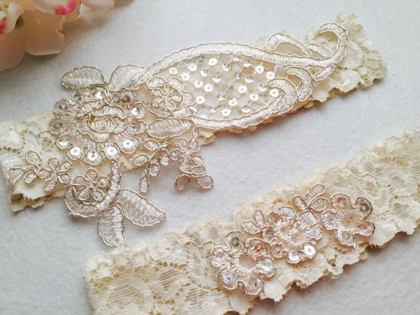 Wedding - Wedding Garter , bridal garter, champagne lace garter,Ivory Lace Garter, Toss Garter