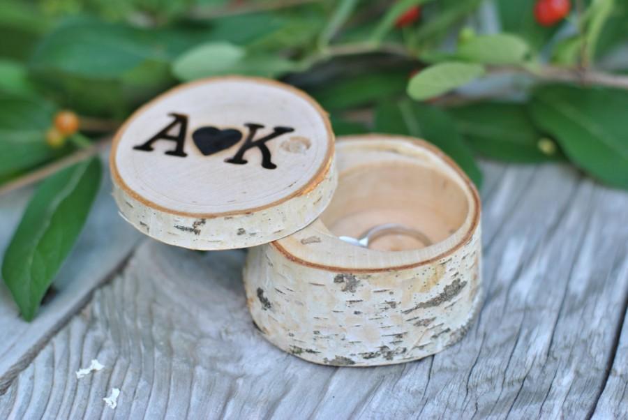 زفاف - Wedding ring box, wooden ring box, engagement ring box, Ring pillow alternative, woodland wedding