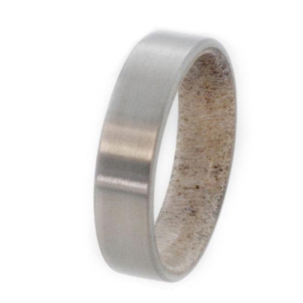 زفاف - Wedding Band for Hunters, Deer Antler Titanium Ring, Antler Inner Sleeve, Men's and Women's Wedding Ring, Ring Armor Included