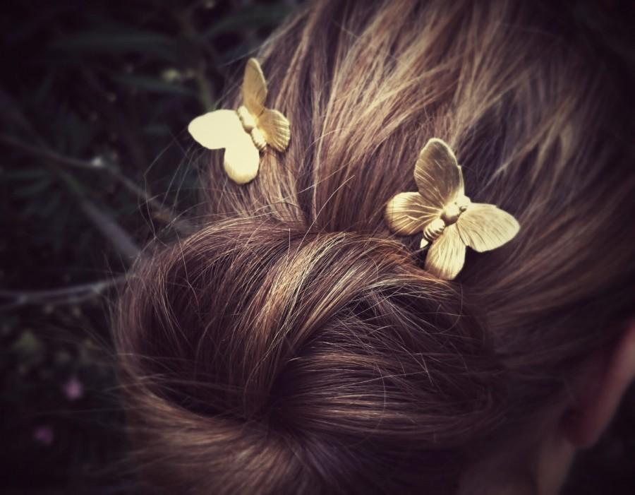 Hochzeit - Flying Butterfly Hair Pins Gold Butterflies Bobby Pins Brass Hair Pins Butterflies Hair Clips