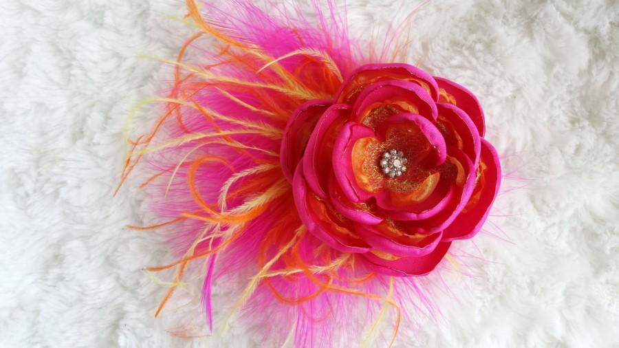 Hochzeit - Tropical sunset flower, hot pink, orange, and yellow feathered flower, sunset color fascinator, sunset wedding accessory/photo prop