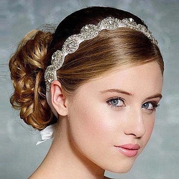 Bride Bridal Flower Girl Headband Rhinestone Crystal Head Band Accessory Bridesmaid Bridesmaids Wedding