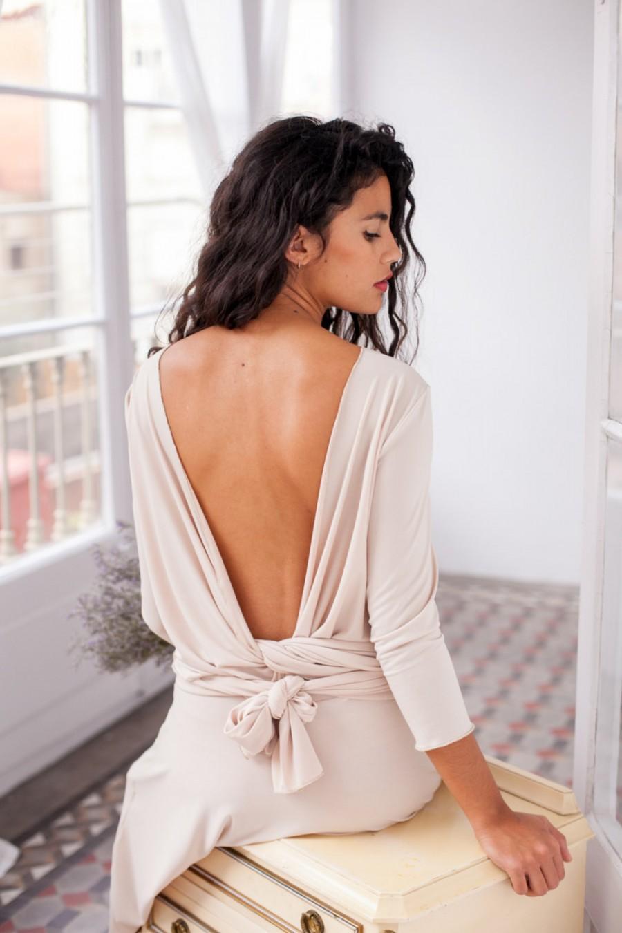 Wedding - Open back prom dress, cream bridesmaid dress, champagne midi dress, beige short dress, V back dress, open back bridesmaid dress, short dress