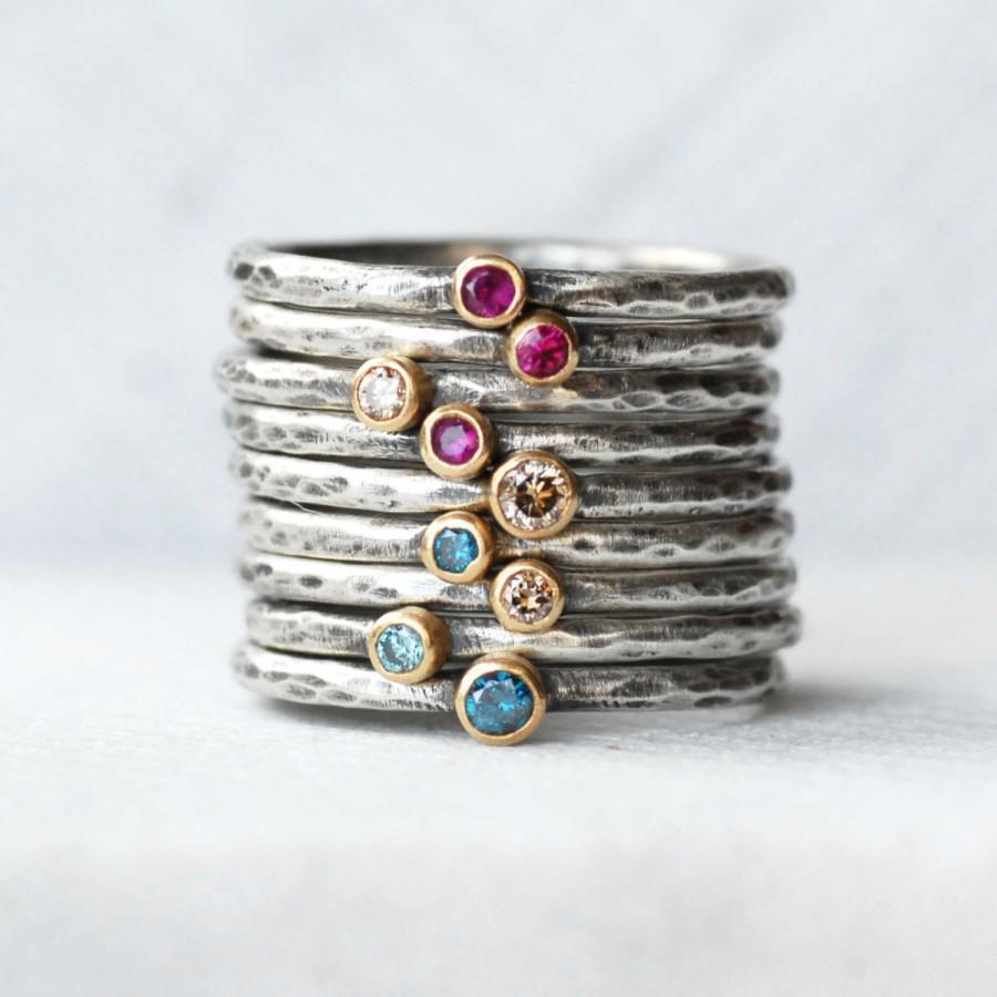 زفاف - Gemstone or Diamond Stacking Ring - 2.5mm Gemstone 18k Yellow Gold and Sterling Silver