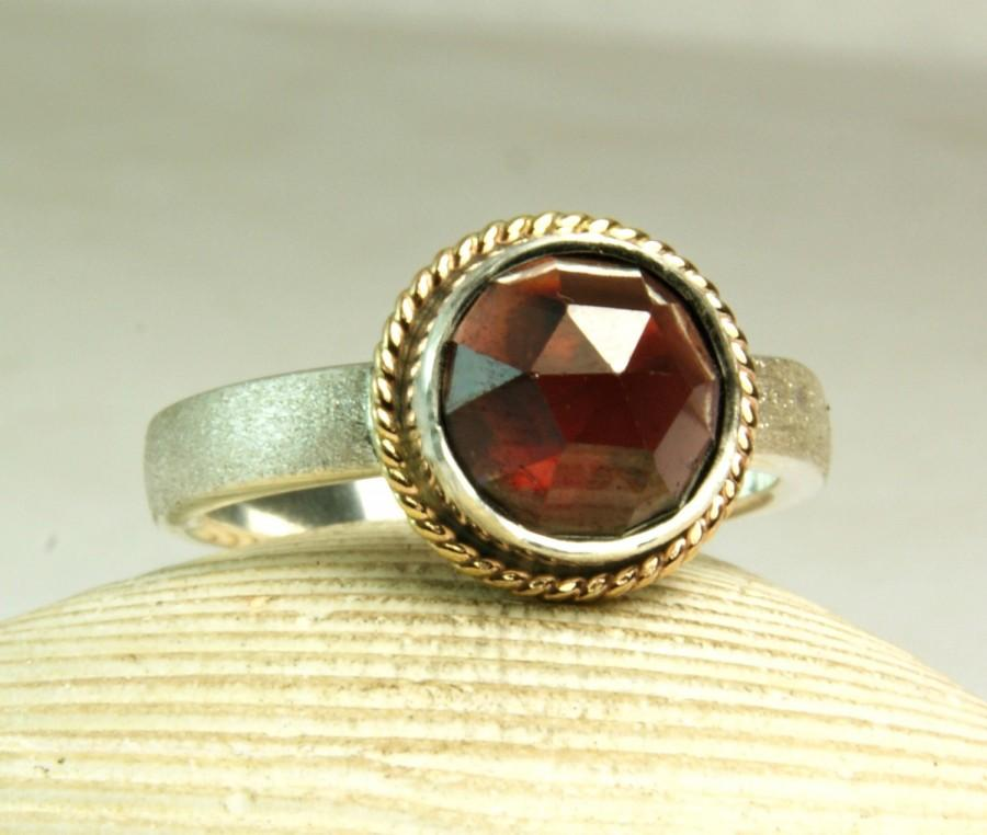 زفاف - Sterling Silver Red Garnet Ring, Solid 14k Gold, Satin Band, Rose Cut Gemtone, Handmade, made to order