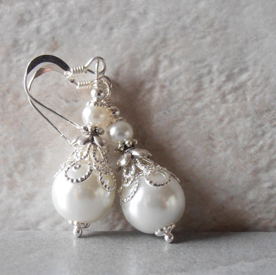 White Pearl Earrings Bridal Beaded Wedding Jewelry Dangle Brides Faux Handmade