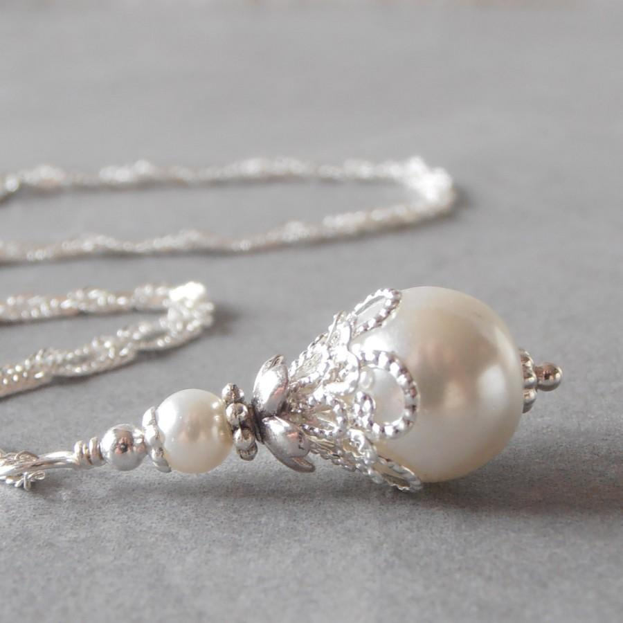 White pearl necklace beaded pendant white bridal jewelry pearl white pearl necklace beaded pendant white bridal jewelry pearl brides necklace handmade wedding necklace pearl pendant bridal sets under 20 junglespirit Image collections