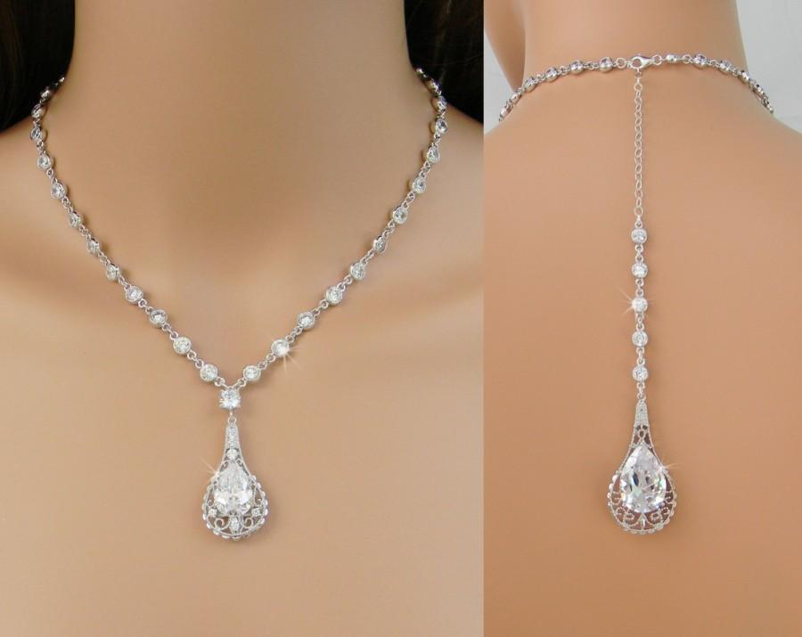 زفاف - Back Drop Bridal Necklace, Backdrop Wedding necklace, Crystal Drop, Dangle Earrings, Elle Crystal Back Drop necklace SET