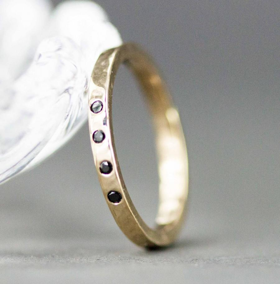 Свадьба - Gold and Diamond Wedding Band -  Black Diamond Ring  2mm Wide - 14k Yellow Gold Ring