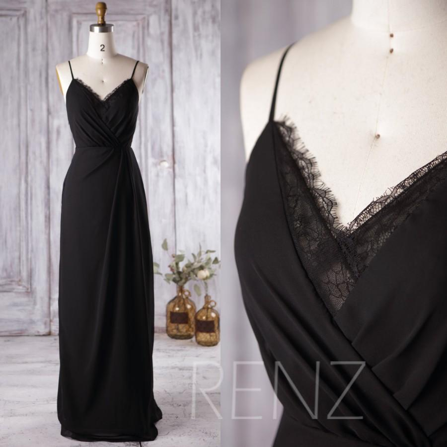 Свадьба - 2016 Black Bridesmaid Dress, V Neck Lace Wedding Dress, Spaghetti Straps Prom Dress, Open Back Formal Dress Floor Length (L136)