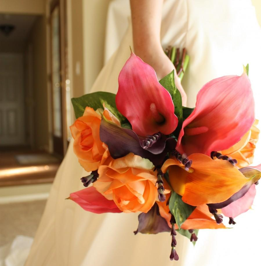 Calla Lily Bouquet Real Touch Pink Orange Purple Summer Wedding Spring Fall