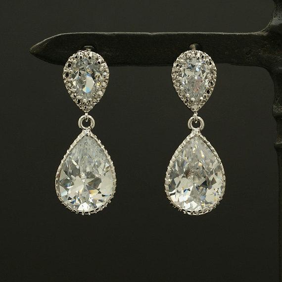 Mariage - E111R / Wedding Bridal Teardrop Earrings, Clear White Cubic Zirconia Post Earrings
