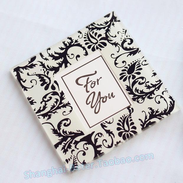 Wedding - Elegant Wedding Favors Damask Flourish Photo Coaster BD039